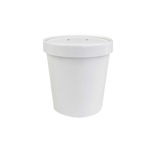 Load image into Gallery viewer, CCF 16OZ Soup Paper Container + Vented Lid Combo - White