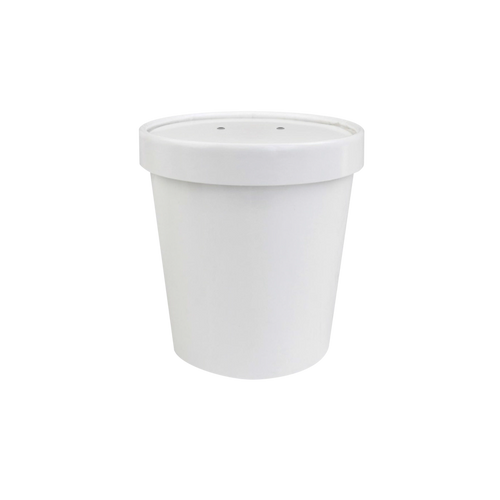 CCF 16OZ Soup Paper Container + Vented Lid Combo - White