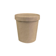 Load image into Gallery viewer, CCF 16OZ Ice Cream Paper Container + Non-Vented Lid Combo - Kraft 250 Sets/Case