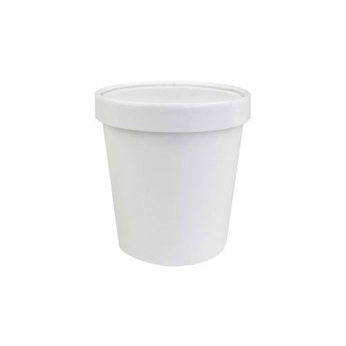 CCF 16OZ Ice Cream Paper Container + Non-Vented Lid Combo - White 250 Sets/Case