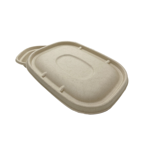 20/32/48OZ 100% COMPOSTABLE Molded Fiber Wheat Straw Rectangle Container Lid - 400 Pieces/Case