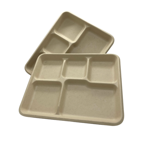 100% COMPOSTABLE Five Compartment Molded Fiber Wheat Straw Tray 10