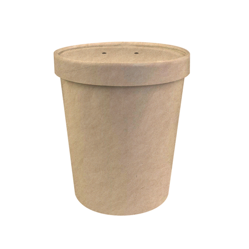 CCF 26OZ Soup Paper Container + Vented Lid Combo - Kraft