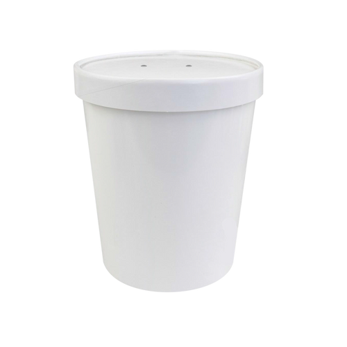 CCF 26OZ Soup Paper Container + Vented Lid Combo - White