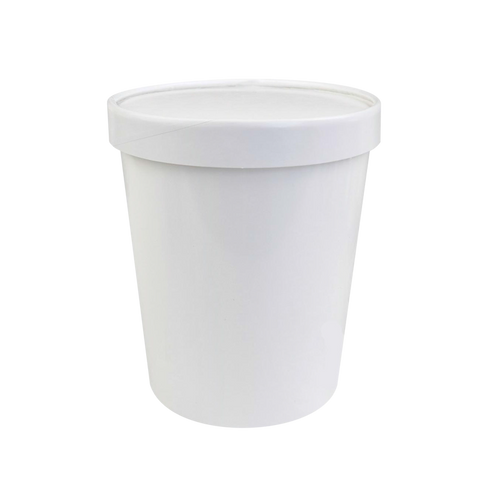 CCF 32OZ Ice Cream Paper Container + Non-Vented Lid Combo - White 250 Sets/Case