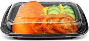 CCF 32oz PP Injection Black Rectangle Container - 150 sets/case - Microwavable (Made in USA)