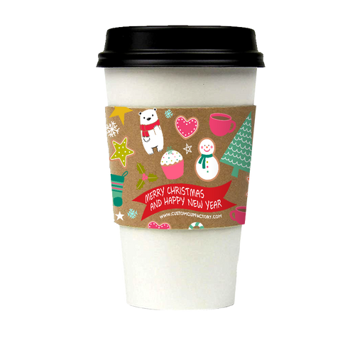【Limited Sale】CCF Holiday Design Eco Friendly Disposable Corrugated Drink Cup Sleeves - 1000 Pieces/Case