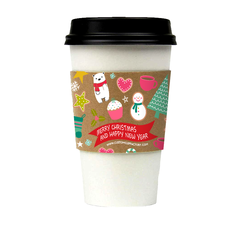 【Limited Sale】Pre-order CCF Holiday Design Eco Friendly Disposable Corrugated Drink Cup Sleeves - 1000 Pieces/Case