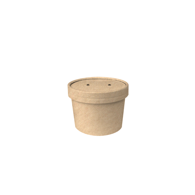 CCF 8OZ Soup Paper Container + Vented Lid Combo - Kraft
