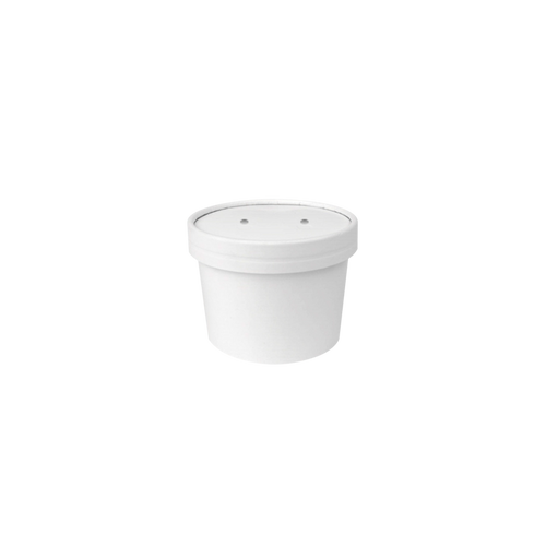 CCF 8OZ Soup Paper Container + Vented Lid Combo - White