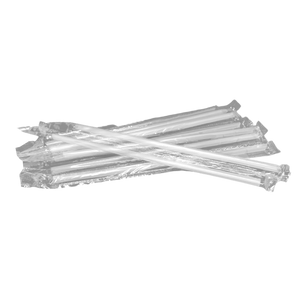 CCF Clear PP Plastic Drink Straws - Single Wrap 7MM Diameter - 2000 Pieces/Case