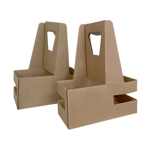 Eco Friendly Heavy Duty Kraft Corrugate Cardboard 2 Cups Carrier - 200 Pieces / Cases