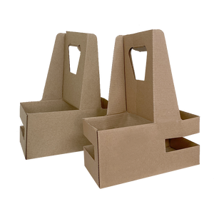 Eco Friendly Kraft Paper 2 Cups Holder - 200 Pieces / Cases
