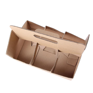 Eco Friendly Heavy Duty Kraft Corrugate Cardboard 6 Cups Carrier - 100 Pieces / Cases