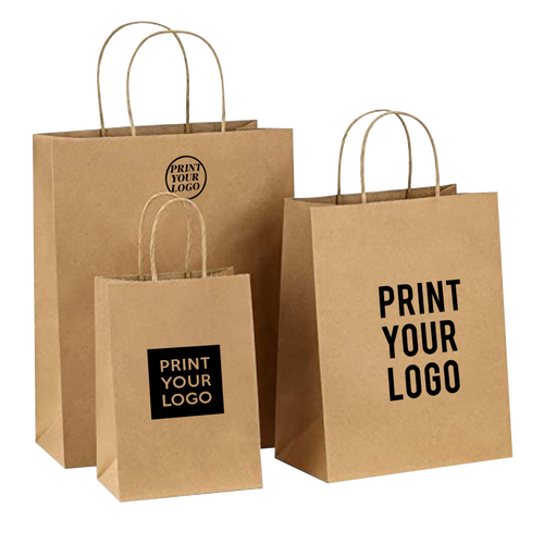 Custom Print ECO-Friendly Heavy Duty Kraft Paper Shopping Bags
