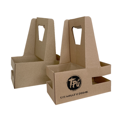 Custom Print Eco Friendly Heavy Duty Kraft Corrugate Cardboard Cup Carriers