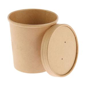 CCF 32OZ Soup Paper Container + Vented Lid Combo - Kraft