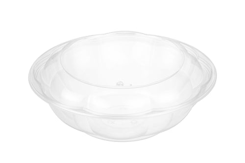 CCF 64OZ PET Plastic Rose Salad Bowl & Lids