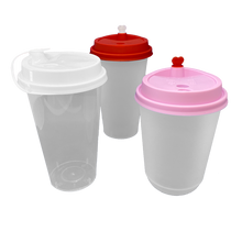Load image into Gallery viewer, CCF 16-24OZ(D90MM) Premium PP Lid/Heart Stopper For PP Injection Cup - White 1000 Pieces/Case
