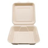 "CCF 100% COMPOSTABLE Single Compartment Molded Fiber Wheat Straw Hinged Container 8"" x 8"" x 3"" - 200 Pieces/Case"