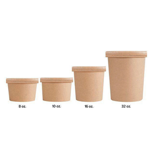 CCF 16OZ Ice Cream Paper Container + Non-Vented Lid Combo - Kraft 250 Sets/Case