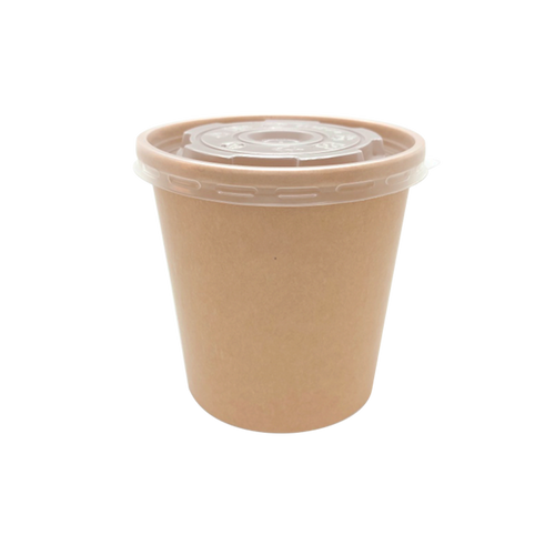 CCF 16OZ Ice Cream / Soup Paper Container + PP Plastic Lid Combo - Kraft