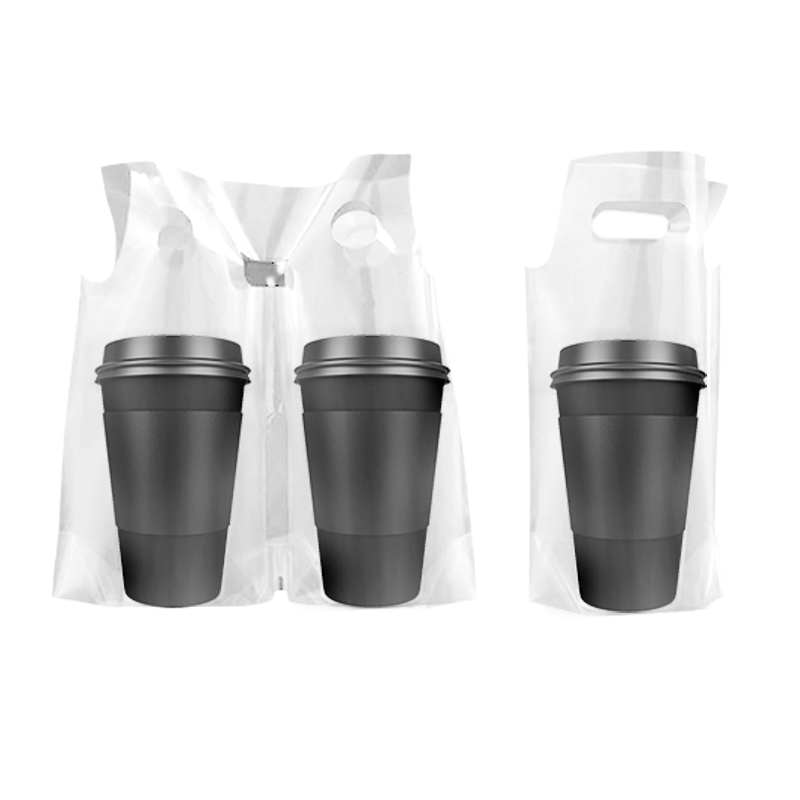 CCF Double Split Drink Cup Carrier Plastic Bag -1000 Pieces/Case (Made in USA )