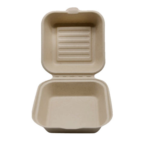100% COMPOSTABLE Single Compartment Molded Fiber Wheat Straw Hinged Container 6