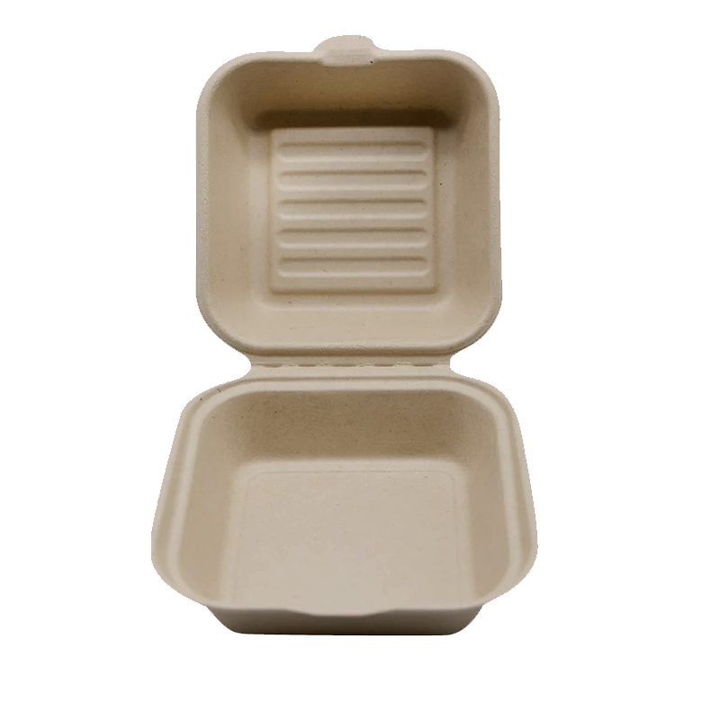 CCF 100% COMPOSTABLE Single Compartment Molded Fiber Wheat Straw Hinged Container 6