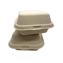 "Load image into Gallery viewer, CCF 100% COMPOSTABLE Single Compartment Molded Fiber Wheat Straw Hinged Container 6"" x 6"" x 3"" - 500 Pieces/Case"