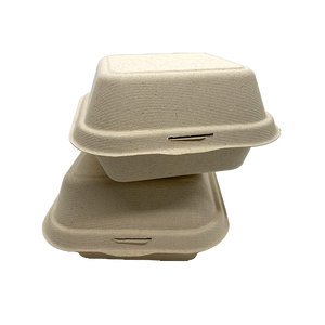"CCF 100% COMPOSTABLE Single Compartment Molded Fiber Wheat Straw Hinged Container 6"" x 6"" x 3"" - 500 Pieces/Case"