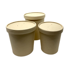 Load image into Gallery viewer, 16OZ(D96MM) 100% Bamboo Fiber Soup Container Lid (Hot/Cold Use) - 500 Pieces/Case