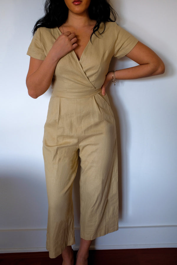 jumpsuit retail short sleeve v neck linen