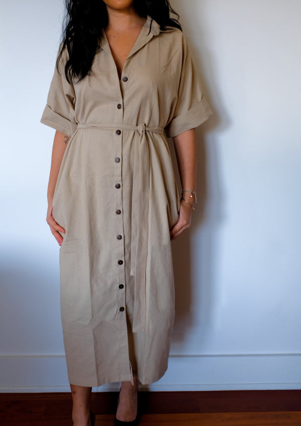 Safari linen shirt dress