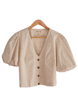 Milos beige linen balloon sleeve top