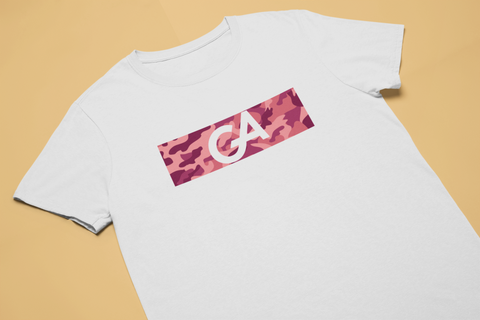 GA Red Camo White Tee - Genuine Aesthetic Streetwear