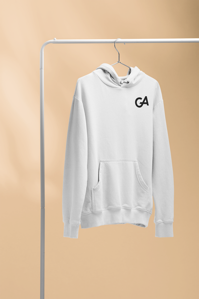 White Minimal Branded Hoodie - Genuine Aesthetic