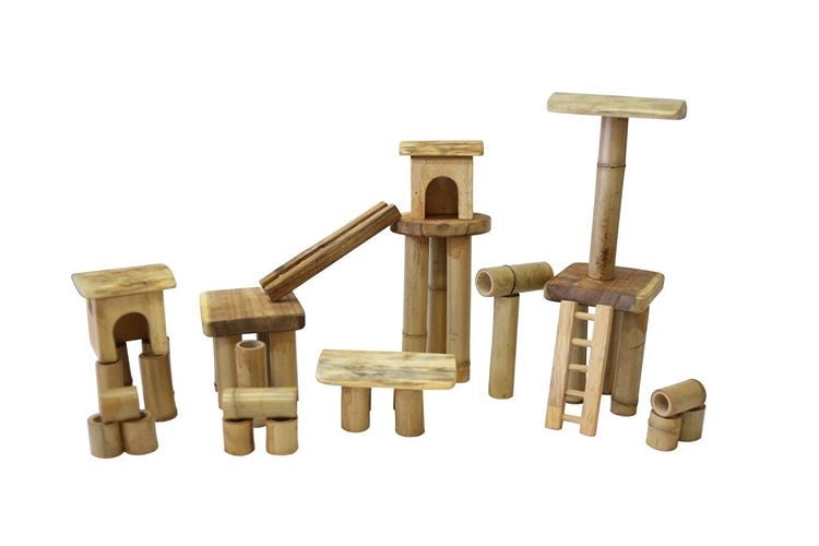 Bamboo building set with house.