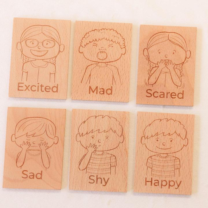 Wooden Emotion Recognition Blocks Set of 6.
