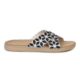 Sandal with flower patterns woven straps. The soft inner sole is covered with natural jute material.