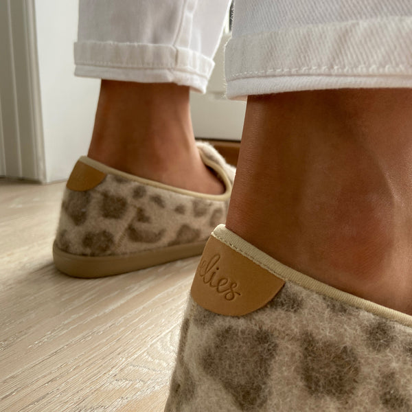 Lovelies Candi lounge slippers leopard taupe fur LL8504