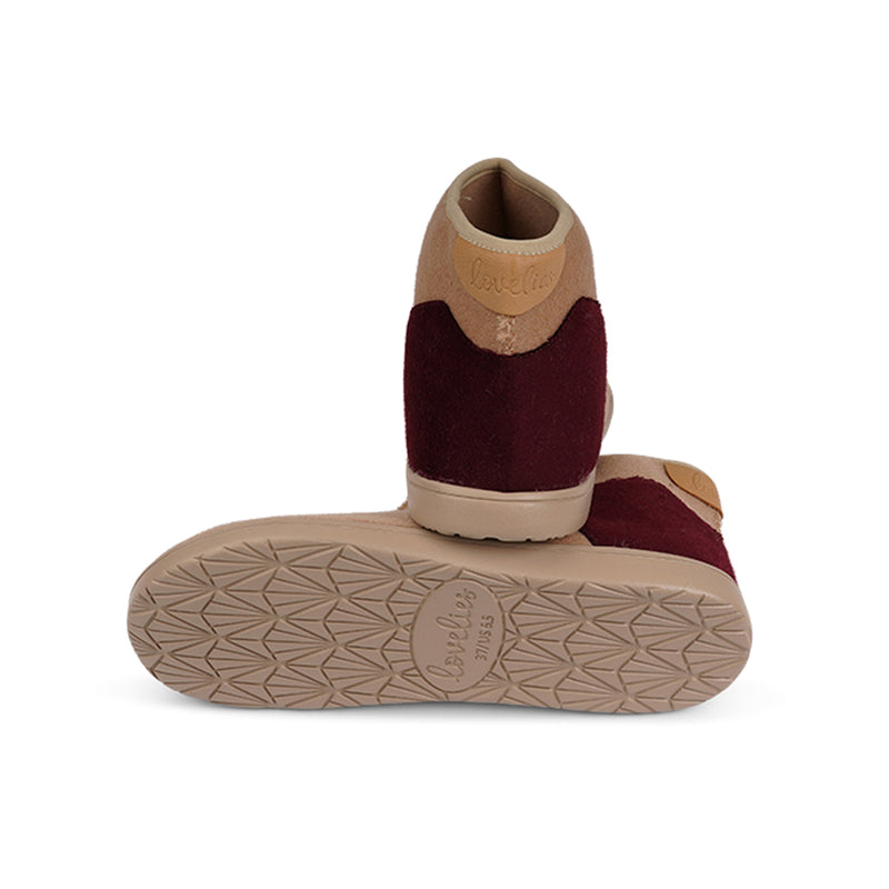 HL9543 Lovelies lounge slippers camel bordeaux