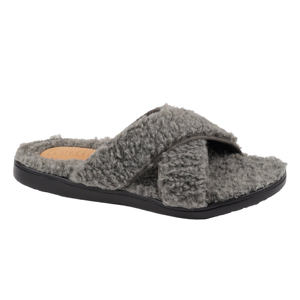 Lovelies Kori Lounge Slippers Black sole and Dark Grey fur