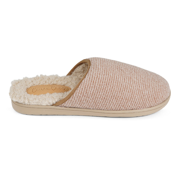 LL7524 Lovelies Soori lounge slippers stripe almond fur