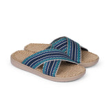 Summer sandals for kids from danish brand Lovelies. The rubber sole is nice and soft which makes the sandal very comfortable. The inner sole is covered with woven jute and the straps are med of fine cotton.