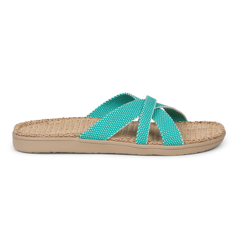 Summer sandals from danish brand Lovelies. The rubber sole is nice and soft which makes the sandal very comfortable. The inner sole is covered with woven jute and the straps are med of fine cotton.