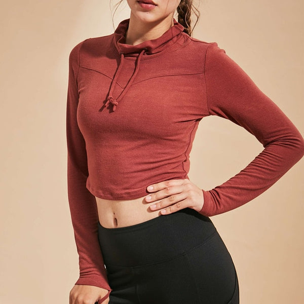 Chic Long-Sleeved Yoga Sports Crop Top - Yoga Blush