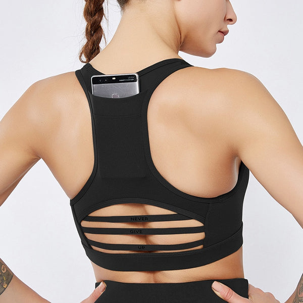 High Impact Sports Bra with Back Pocket - Yoga Blush