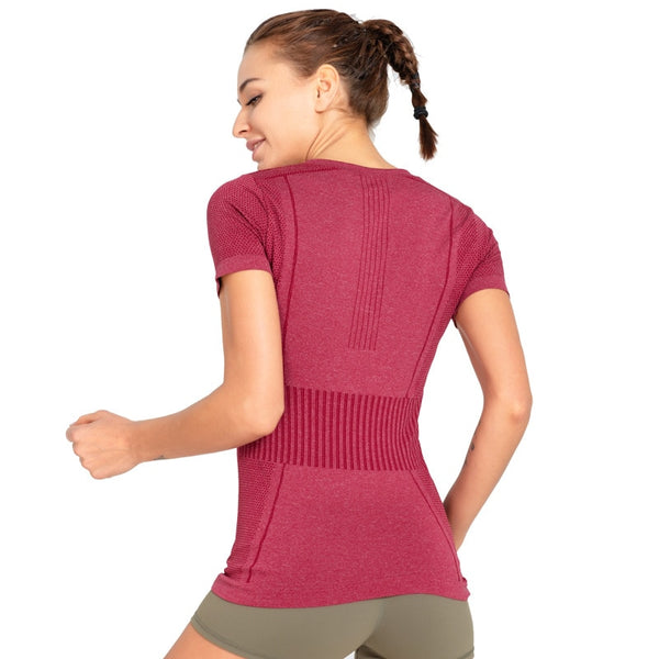Seamless Short-Sleeved Sports Top - Yoga Blush