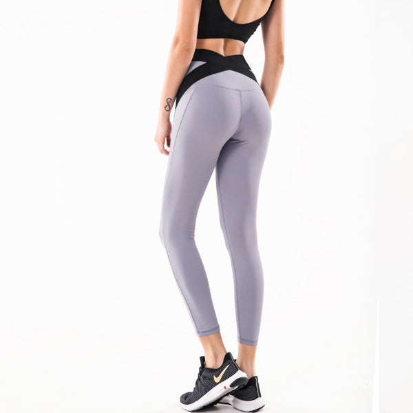 Cross Back Seamless High Waist Yoga Fitness Leggings - Yoga Blush
